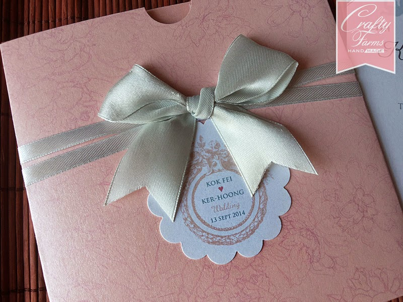 Peach and Grey themed Wedding Pocket Card with Ribbon, Tag, and printed logo design