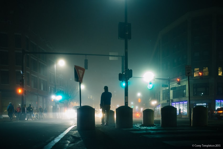 Portland, Maine USA December 2015 photo by Corey Templeton. Another shot from a foggy Congress Square last week.