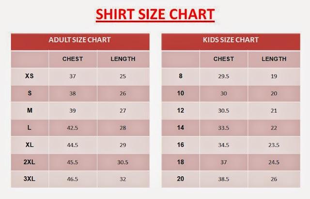 Alaska World Milk Day Family Run Shirt Size Chart