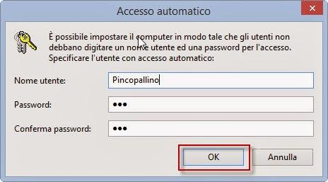 Inserisci la password del tuo account - Windows 8.1