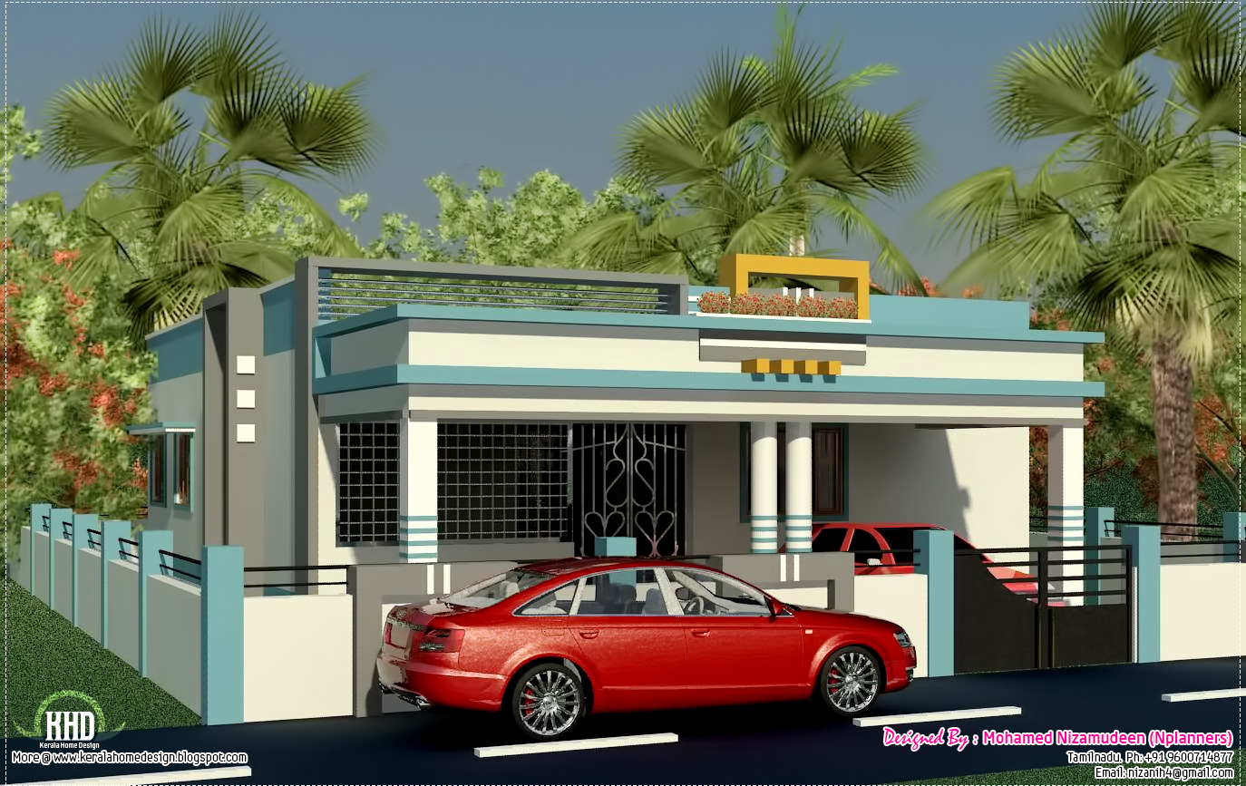 Tamilnadu style single floor home design kerala house for Home designs in tamilnadu