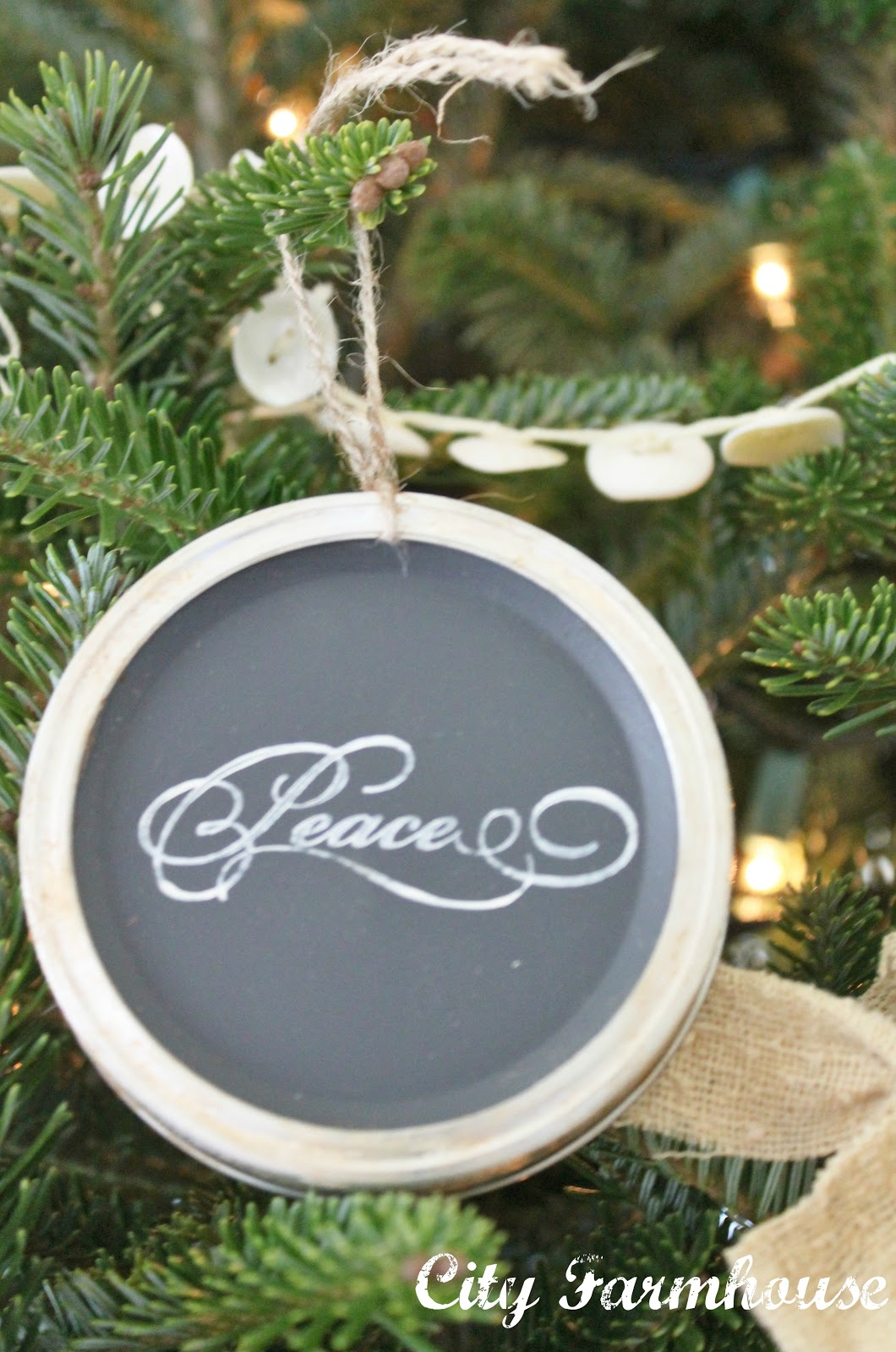 Mason Jar Chalkboard Lid Ornaments Recycled Christmas
