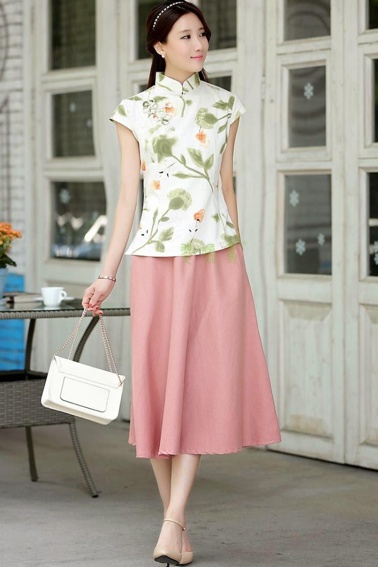 Cotton Linen Mid Calf Skirts