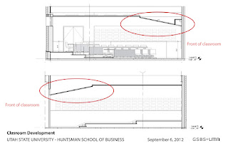 Side view layout of ceiling baffles in new Huntsman School classrooms
