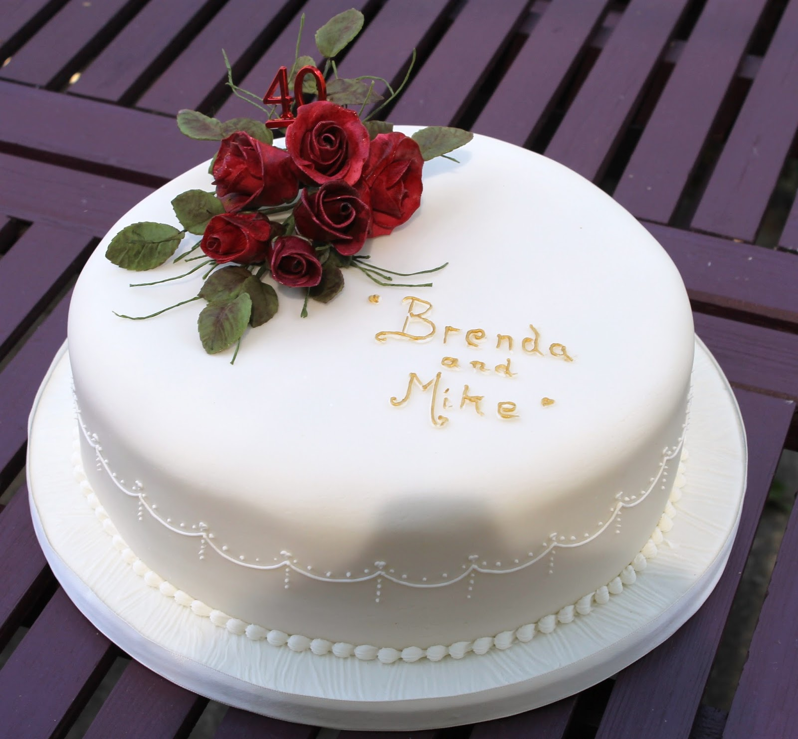Rich fruit cake with sugrpaste and sugar roses and leaves