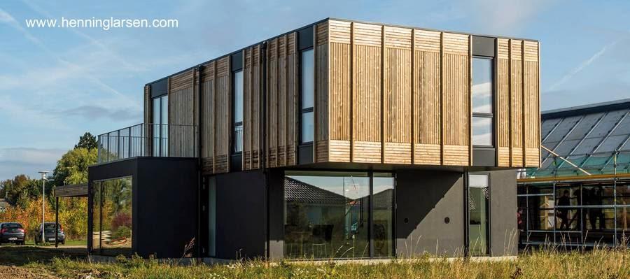Vista en perspectiva de la casa danesa prefabricada adaptable