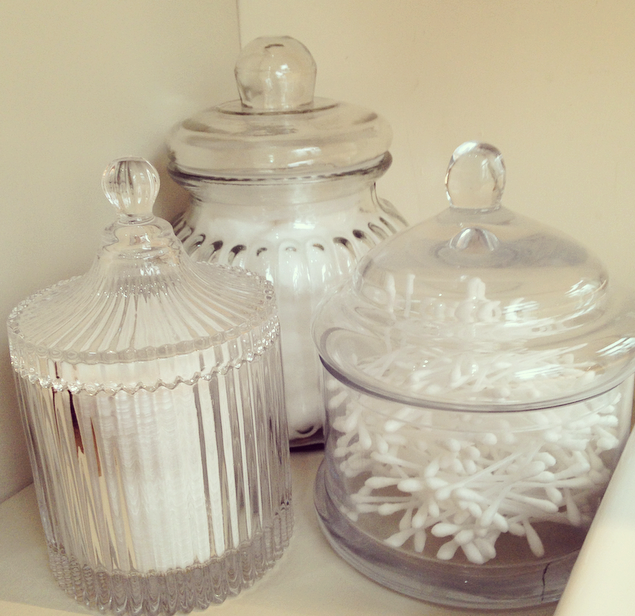as artificial lilies  candles   glass jars from places like B M    Home Bargains filled with bathroom essentials like cotton wool balls  pads    buds. Home Tour   Bathroom