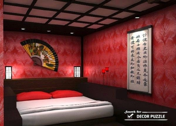 lovely japanese style bedroom design ideas, curtains