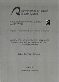 Portada de la Tesis Doctoral de Rubén Domínguez Quintana. ULPGC.