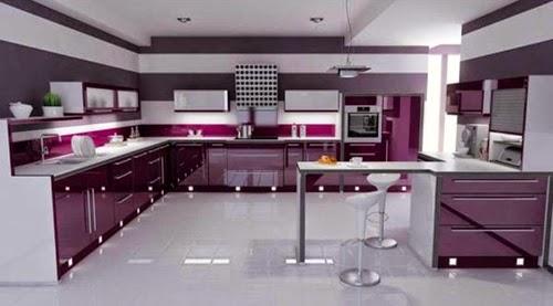 Desain Dapur Mewah Modern Dengan Warna Ungu