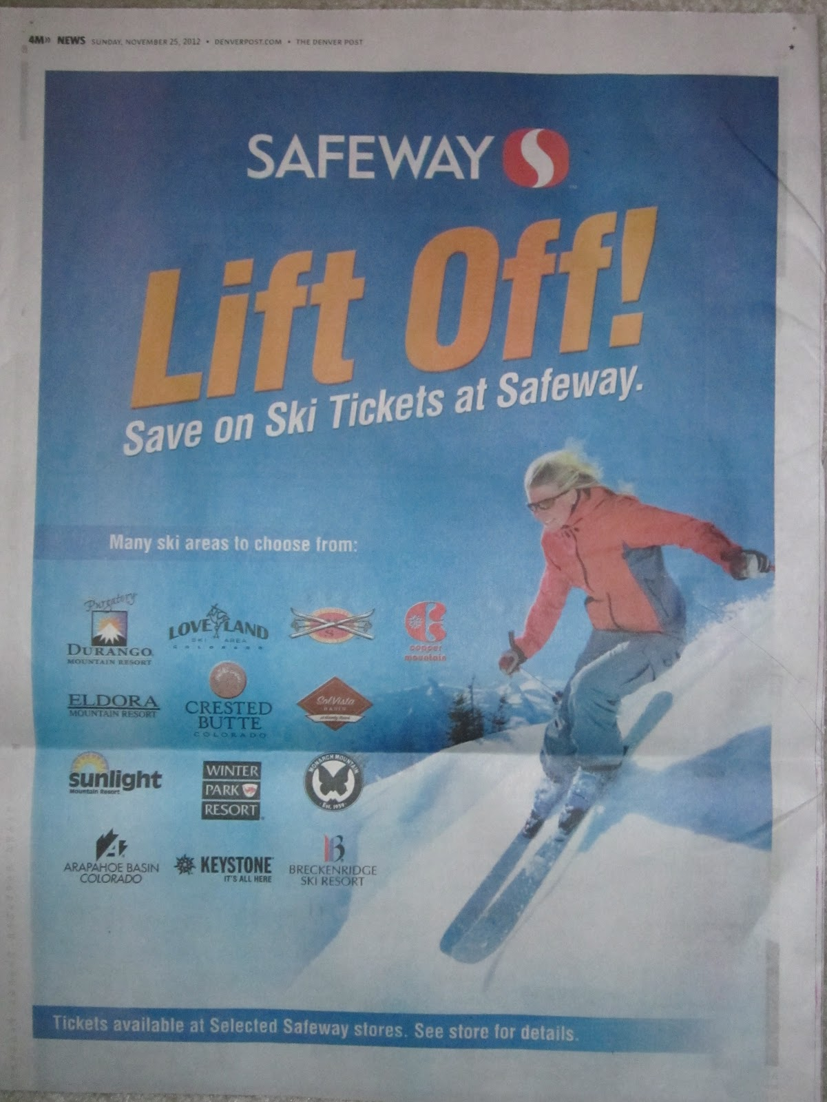 Lift ticket coupon colorado