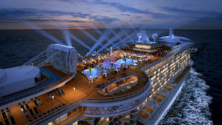 Princess Cruises' Royal Princess' top deck will feature the SeaWalk, dancing fountains and a larger Movies Under the Stars Screen