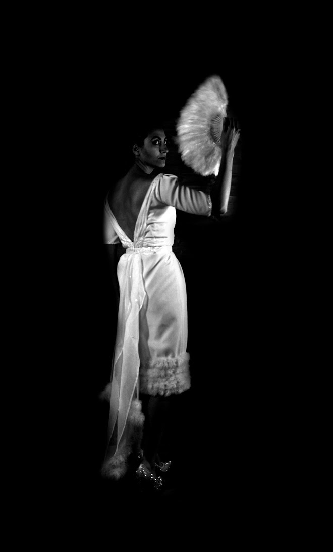 black and white woman with fan burlesque
