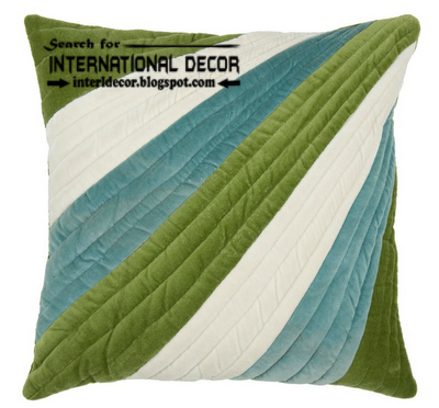 unique pillow style, Italian pillows and cushions, green and white and turquoise pillow