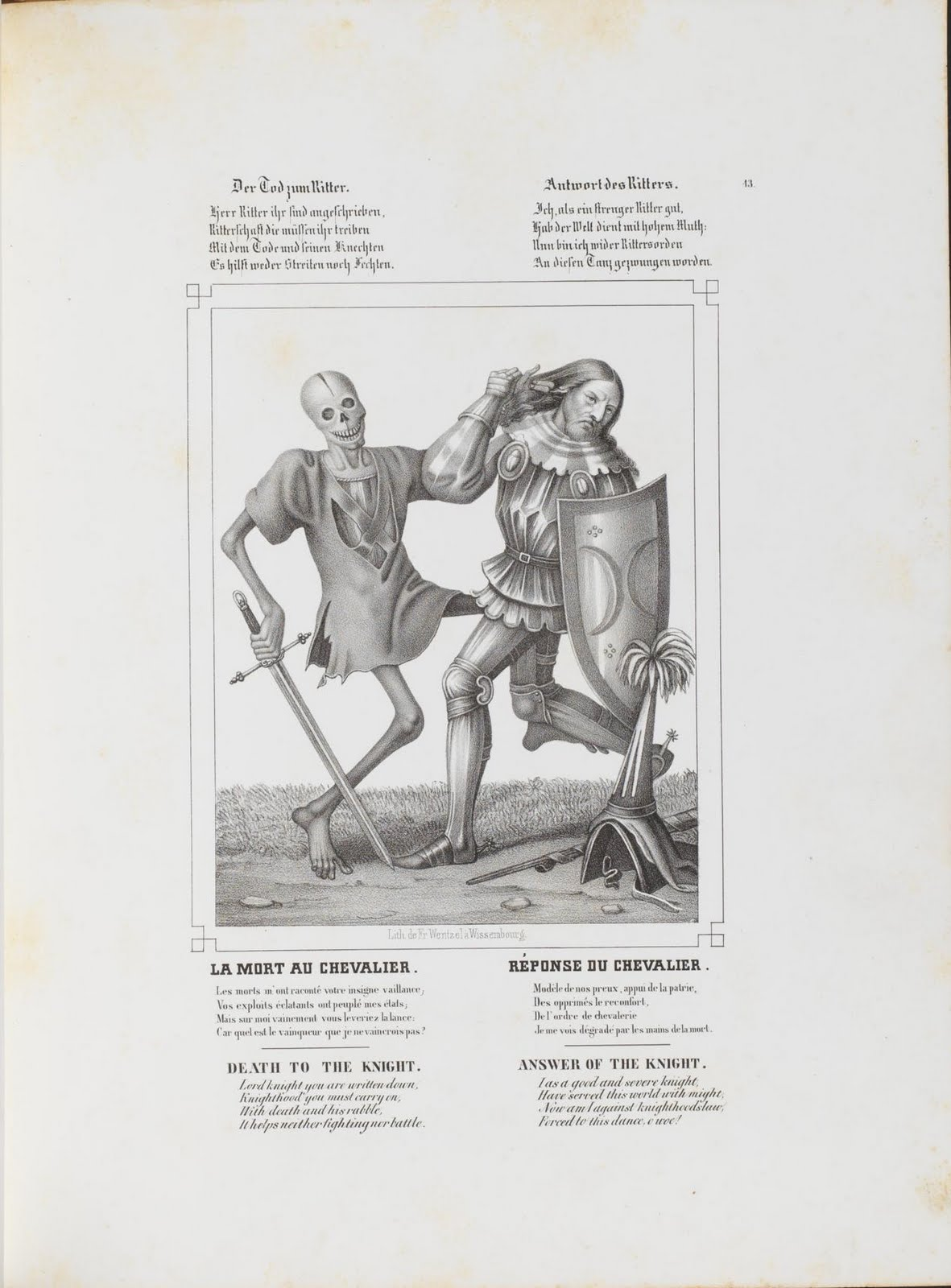 litho of death in form of skeleton taking knight