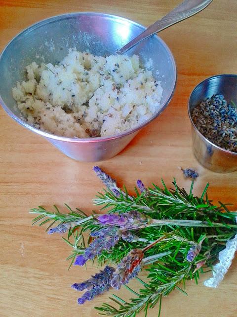lavender and rosemary sugar scrub