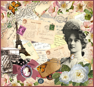 collage vintage con postales antiguas