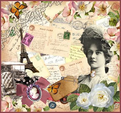 collage vintage con postales antiguas