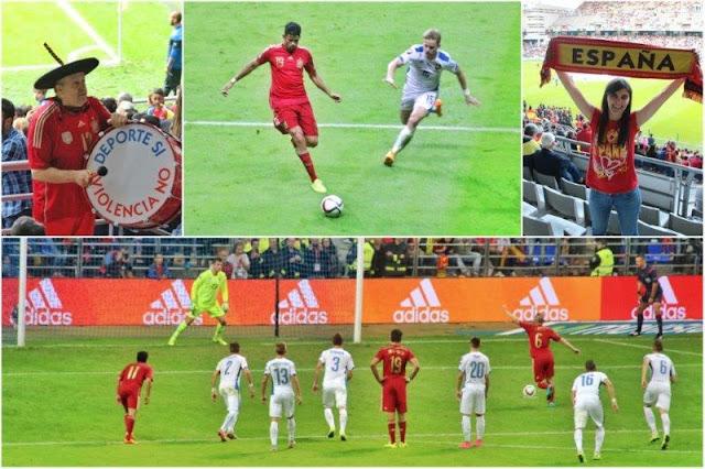 Manolo el del bombo – Diego Costa – Animando a Espana – Primer gol de penalti marcado por Iniesta en el partido de clasificación para la Eurocopa 2016 Espana Eslovaquia en Oviedo