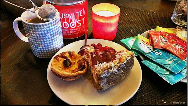 goûter gourmand cheesecake groseille maison pasteis de nata the kusmi tea boost, tasse monoprix imprimée