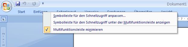 Word 2007 minimiertes Menuband Rechtsklick