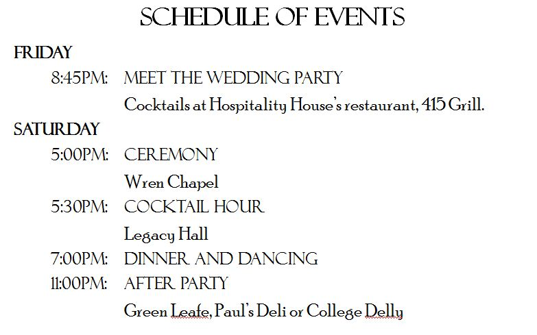 was the schedule of events and wedding map i loved that everything was laid out for our guests having this prevented me from having to field questions