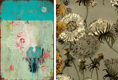 Look at this beautiful pattern inspired painting by Kathe Fraga and this great vintage dandelion wallpaper.