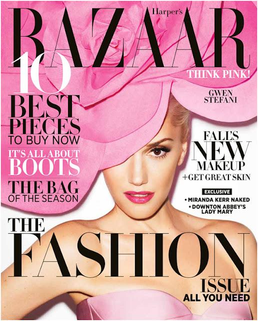 gwen stefani harpers bazaar cover pink hat