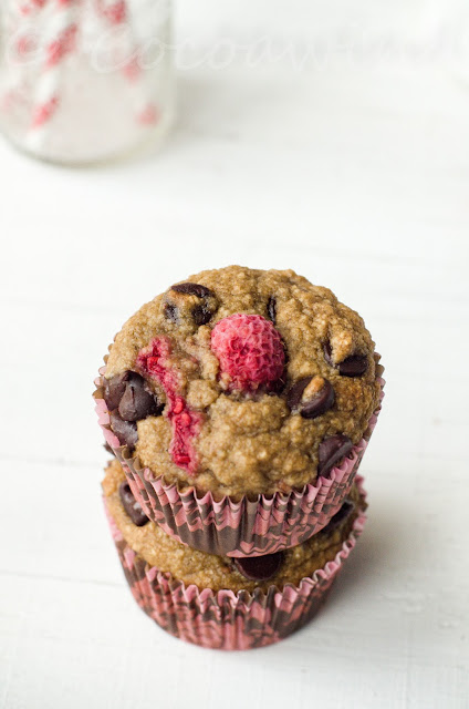 Oatmeal Banana Raspberry Chocolate Chip Muffins - Oil-free/Butter-less