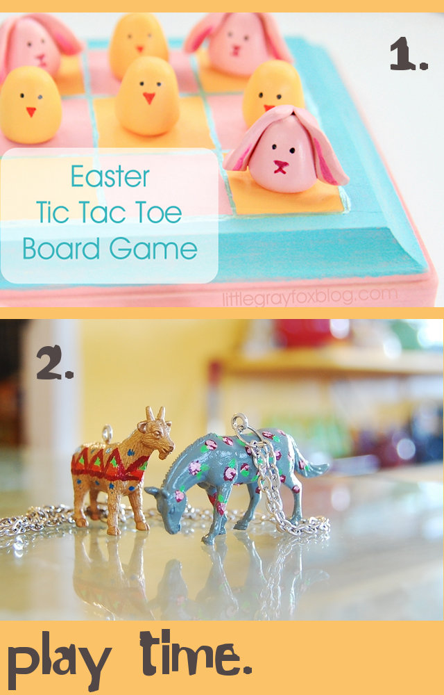 DIY Easter Basket Gift Ideas - Super Cute Bunny Tic Tac Toe Game Board and Rose Painted Toy Animal Jewelry