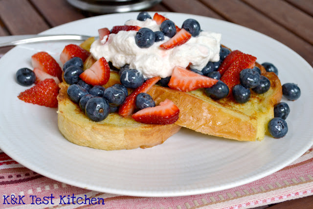 french toast with strawberries blueberries and maple whip cream recipe