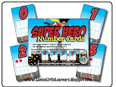 Number Cards {Superhero Theme}