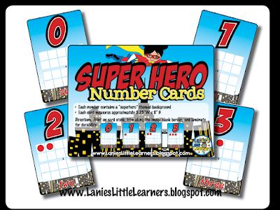 Number Cards {Superhero Theme}