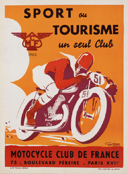 vintage, vintage posters, vintage printables, free printable, printables, retro prints, classic posters, graphic design, free download, free printable, sports, motorcycle, advertising, Sport ou Tourisme un seul Club, Motorcycle Club de France - Vintage French Sports Printable Poster