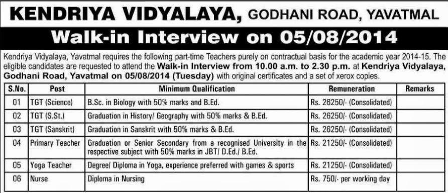 Kendriya Vidyalaya Yavatmal Recruitment 2014 Details