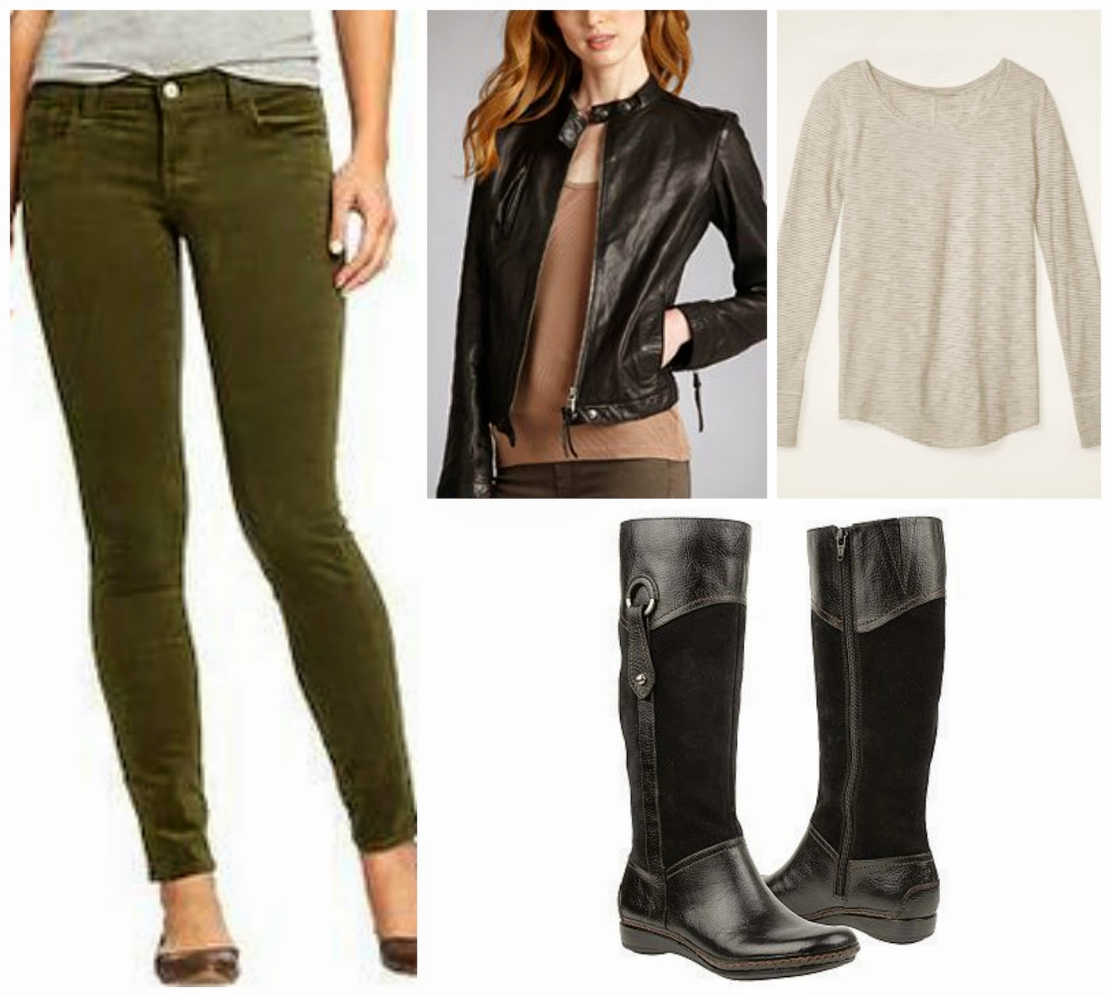 olive pants, moto jacket, striped tee, boots