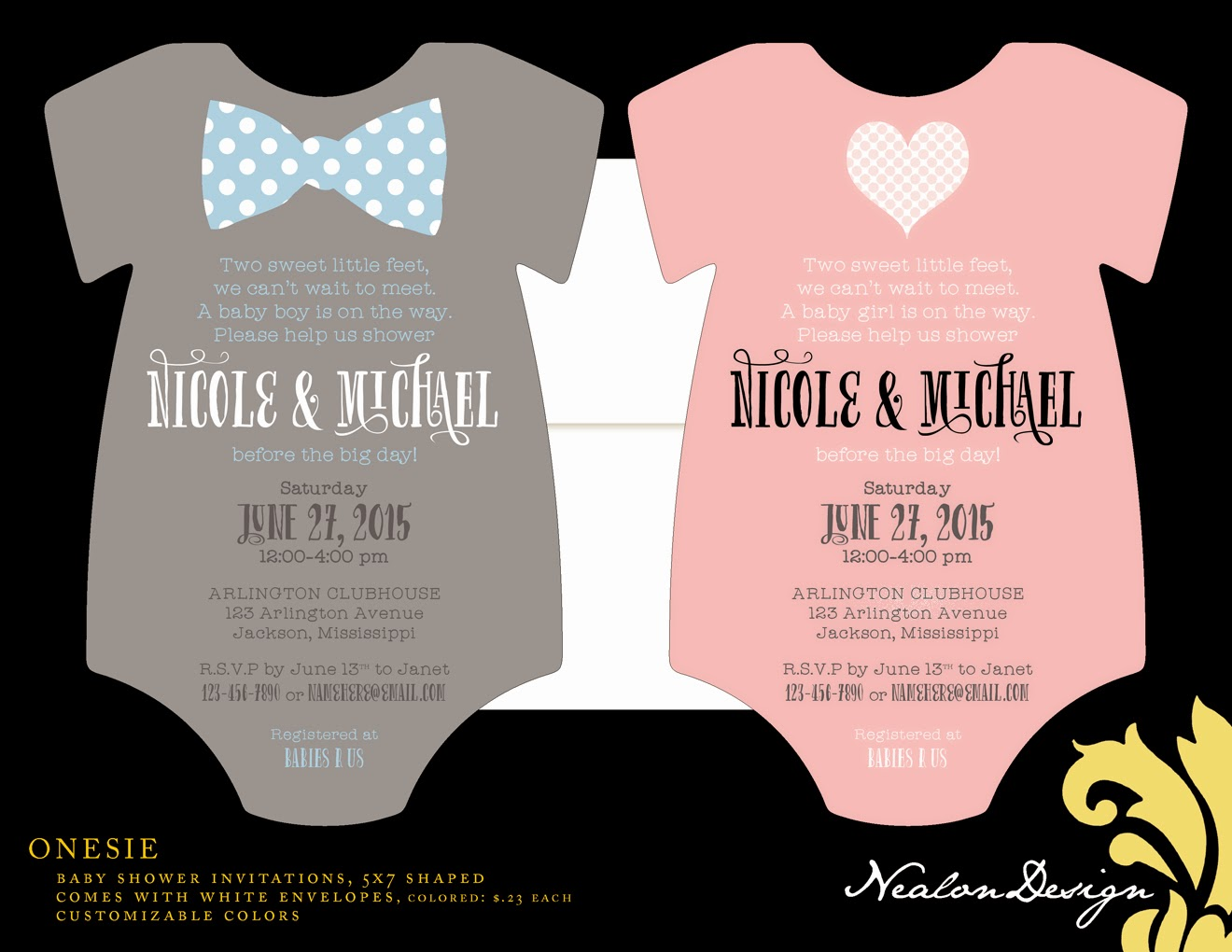 Nealon Design: ONESIE baby shower invitations