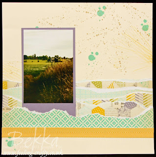 An evening stroll scrapbook page featuring the Gorgeous Grunge Stamp Set and Afternoon Picnic Papers from Stampin' Up!   Check Bekka's blog every Saturday for a new Scrapbook Page