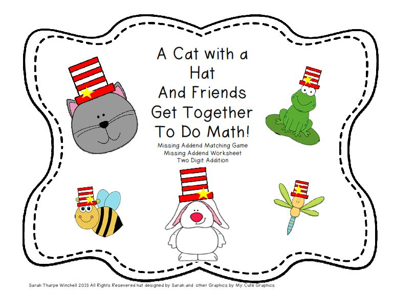 I Dream of First Grade A Cat with A Hat and Friends Math Centers – Cat in the Hat Worksheets