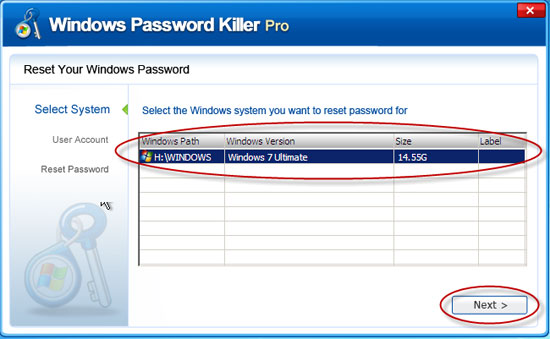 Windows user password crack