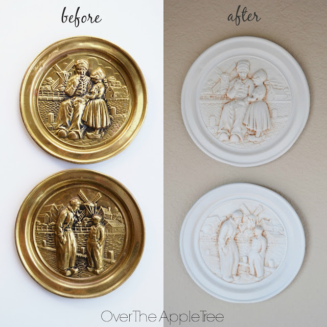 Update vintage brass plates with spray paint >> Over The Apple Tree