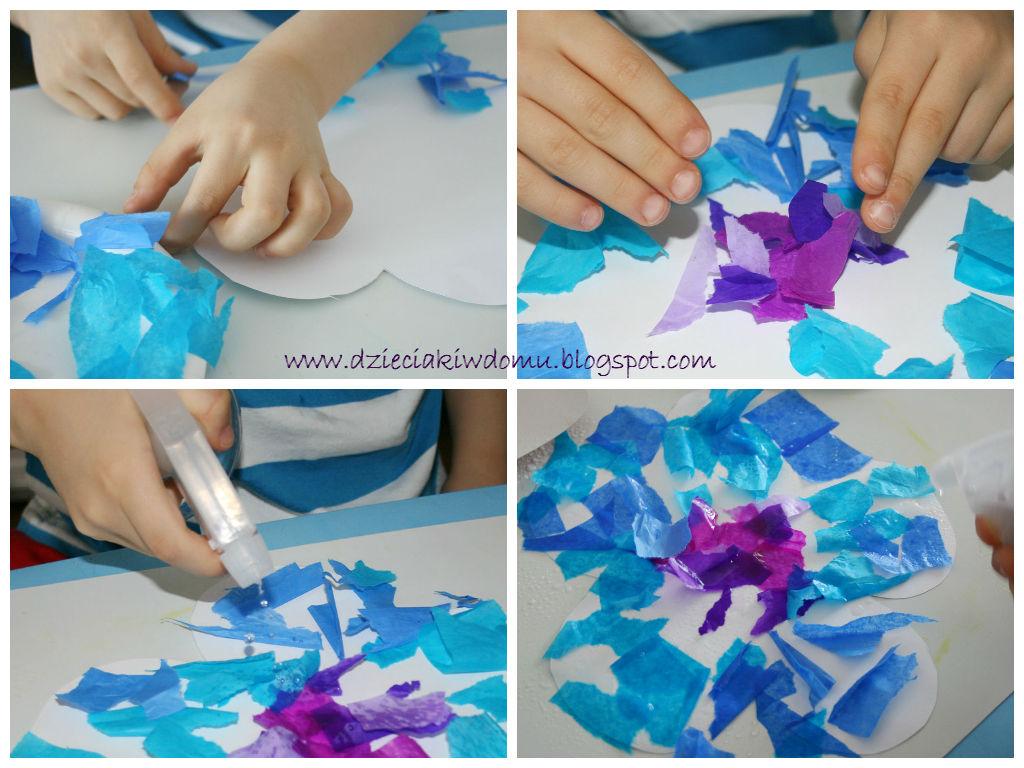 kwiatki z bibuły, praca plastyczna dla dzieci
