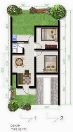 gambar denah rumah tipe 36 ~ desain rumah