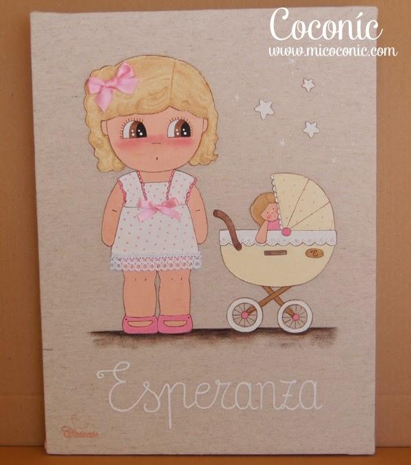 cuadro infantil niña personalizado muñeca