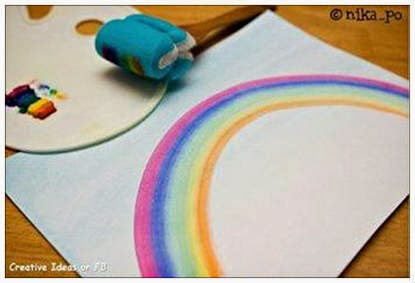 Creative Painting ideas, easy painting ideas for kids, creative and easy rainbow painting for children, Creative activities for kids, easy painting techniques, quick painting ideas