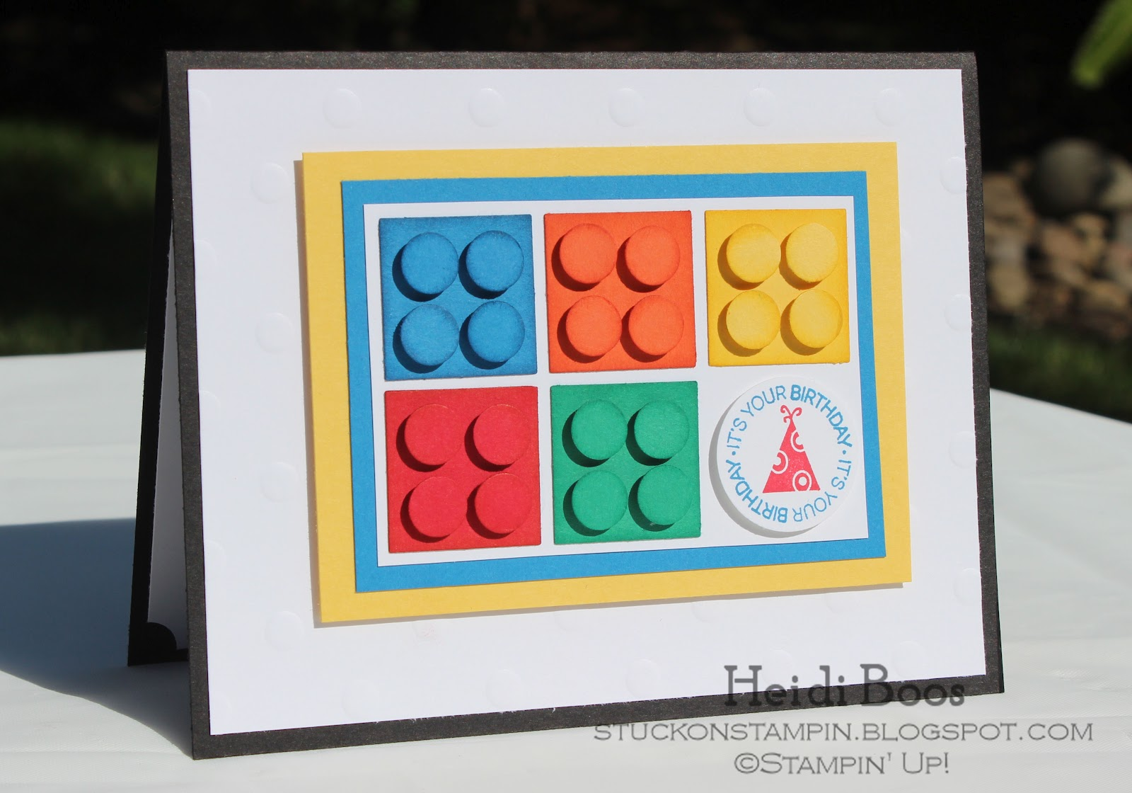 Stuck on Stampin lego birthday card paper players tic tac toe – Lego Birthday Card