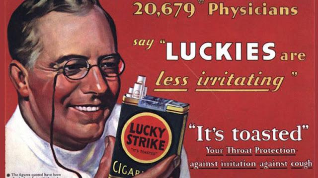 Anúncio da Lucky Strike dos anos 40 que assassinou a saúde