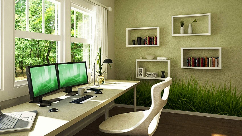Wall painting ideas for office Home office design color ideas