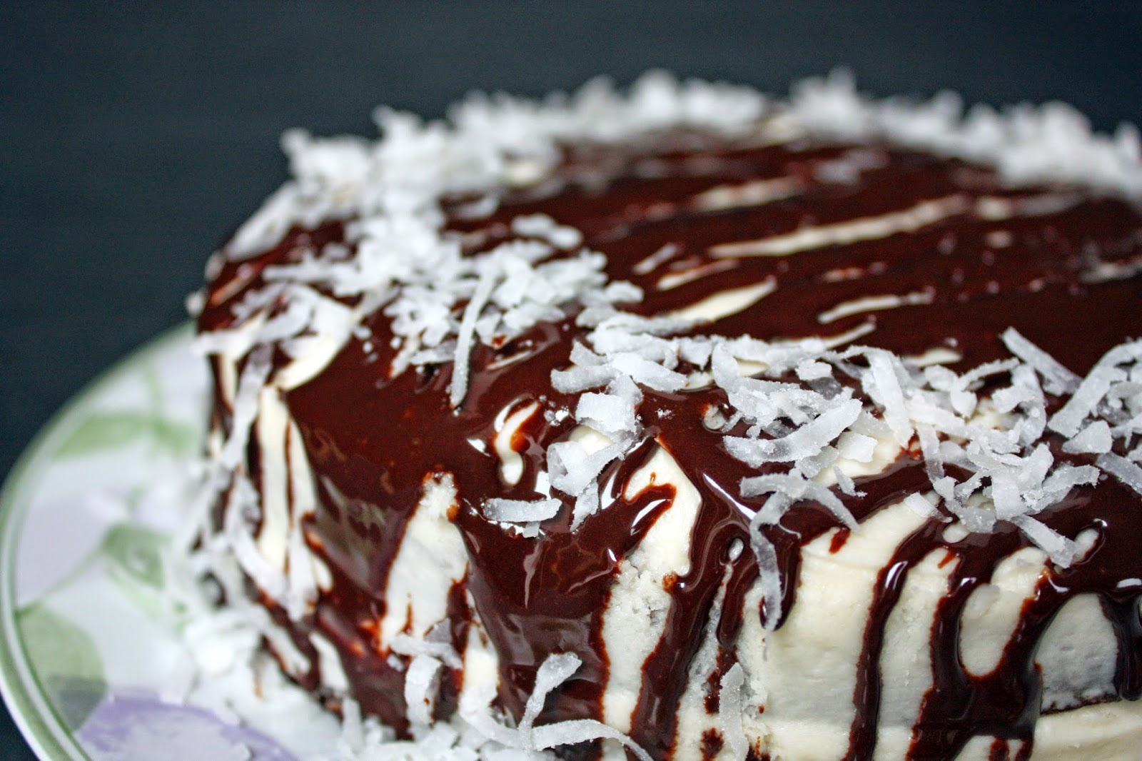 vegan chocolate layer cake with chili and coconut