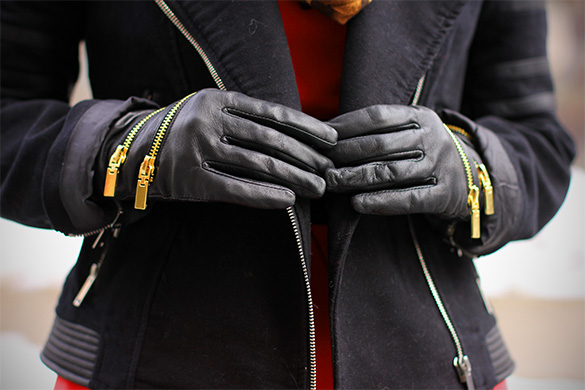 Zara leather zip gloves